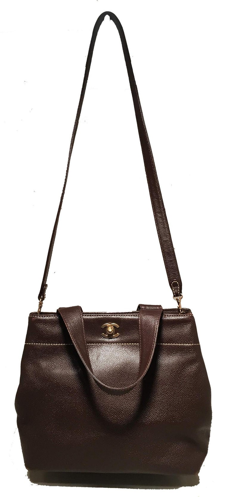 Chanel Dark Brown Caviar Top Handle Shoulder Bag Tote For Sale 7