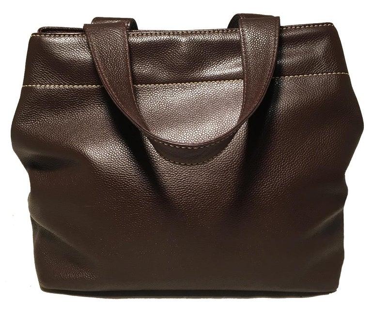 Women's Chanel Dark Brown Caviar Top Handle Shoulder Bag Tote For Sale