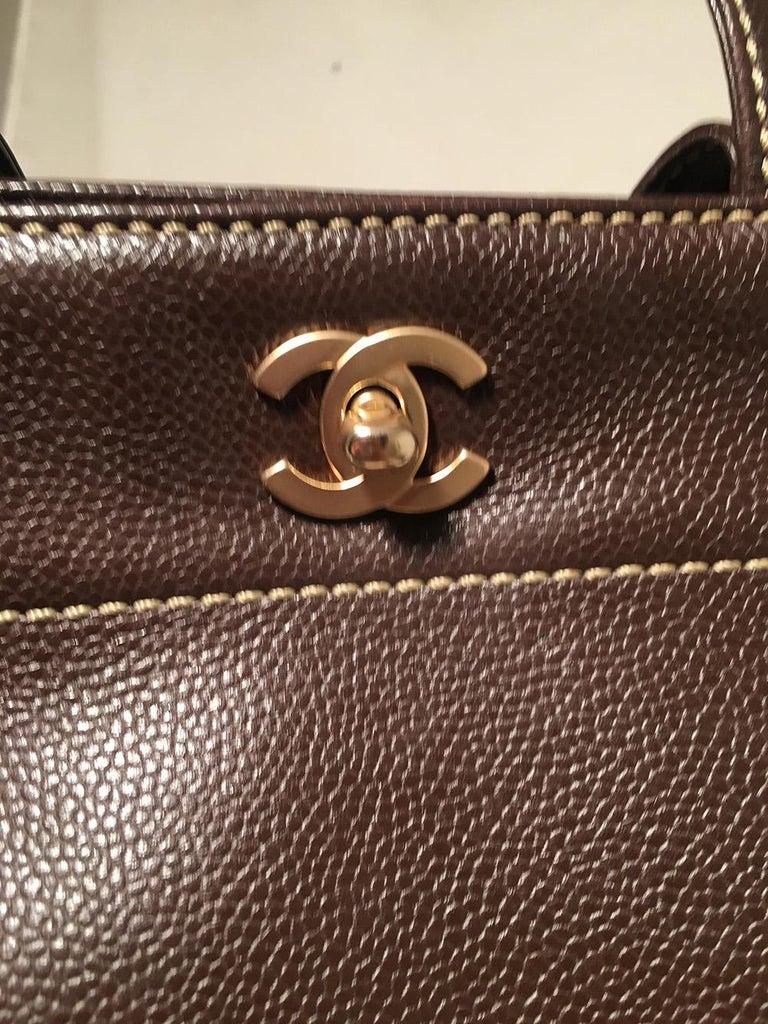 Chanel Dark Brown Caviar Top Handle Shoulder Bag Tote For Sale 2