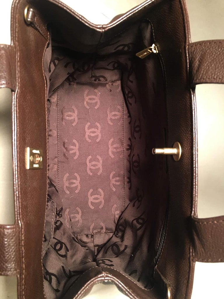 Chanel Dark Brown Caviar Top Handle Shoulder Bag Tote For Sale 3
