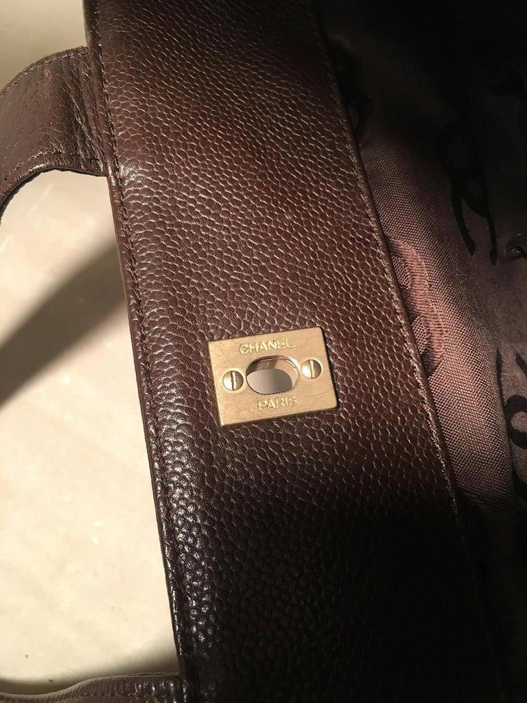 Chanel Dark Brown Caviar Top Handle Shoulder Bag Tote For Sale 5