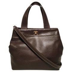 Chanel Dark Brown Caviar Top Handle Shoulder Bag Tote