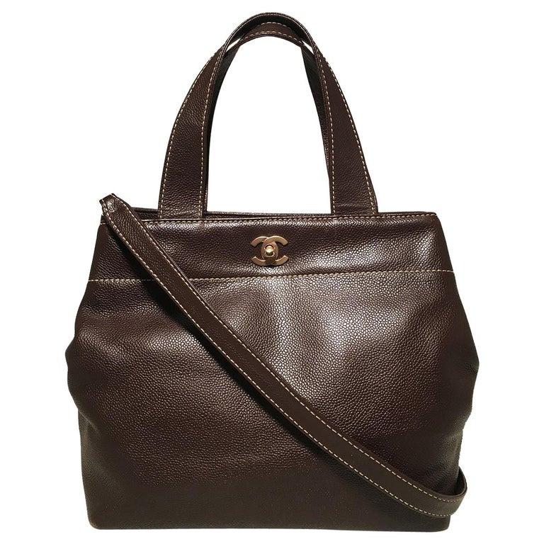 Chanel Dark Brown Caviar Top Handle Shoulder Bag Tote For Sale