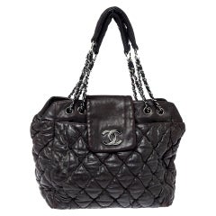 Chanel Dark Brown Quilted Leather Bubble Shoulder Bag
