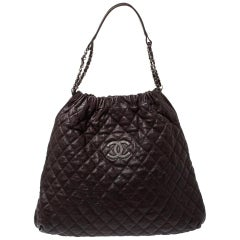 Chanel Dark Brown Quilted Leather CC Chain Hobo