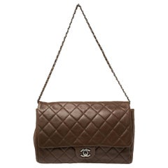 Chanel Dark Brown Quilted Leather Single Flap Bag