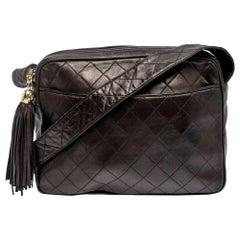 Chanel Dark Brown Quilted Leather Tassel Vintage Camera Bag