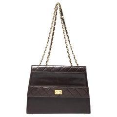 Chanel Dark Brown Quilted leather Vintage Shoulder Strap
