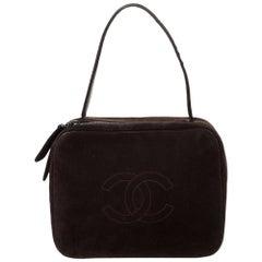 Chanel Dark Brown Suede Vintage CC Timeless Vanity Bag