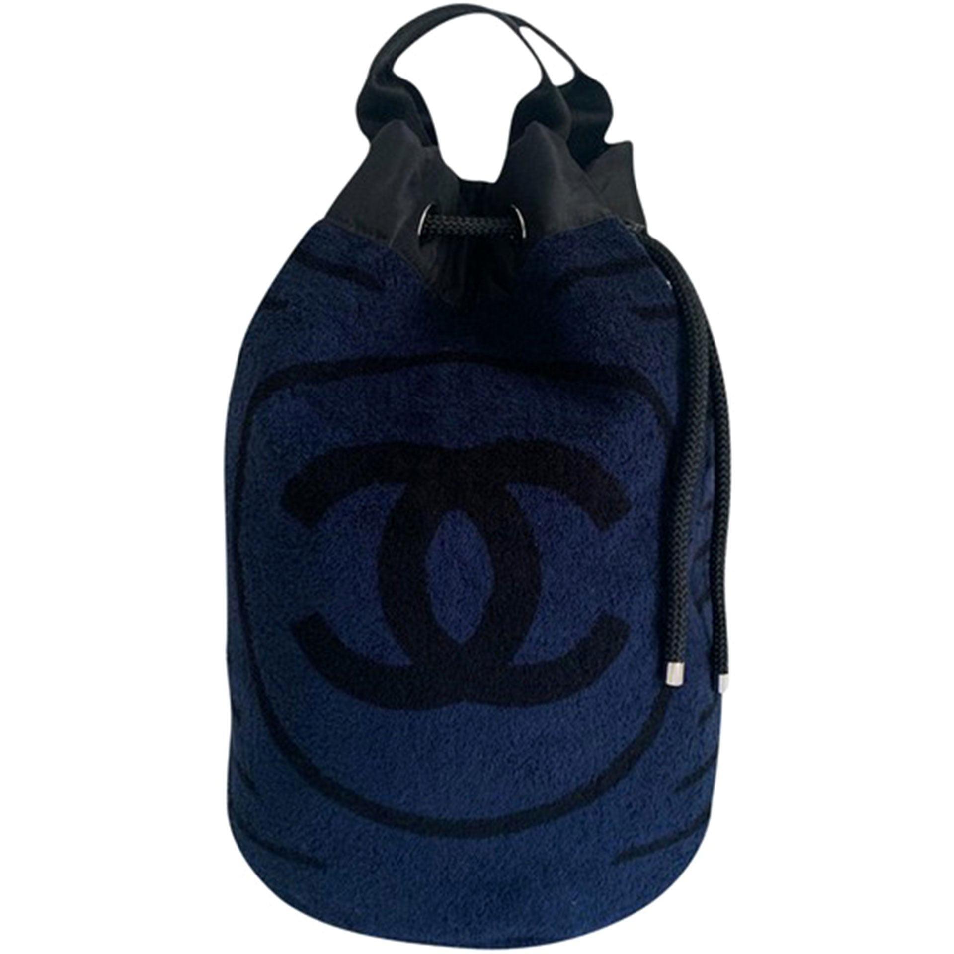 Chanel Dark Dark Navy Blue Striped CC Logo Drawstring Large Beach Tote Bag
