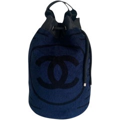 Chanel Dark Dark Navy Blue Striped CC Logo Drawstring Large Beach Tote Bag