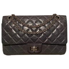 Chanel Dark Gray Aged Calfskin 10inch 2.55 Double Flap Classic 225 Reissue