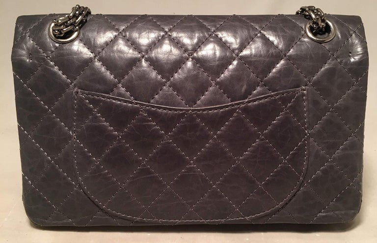 Chanel Dark Gray Distressed 10inch 2.55 Double Flap Classic 227 Reissue  In Excellent Condition For Sale In Philadelphia, PA