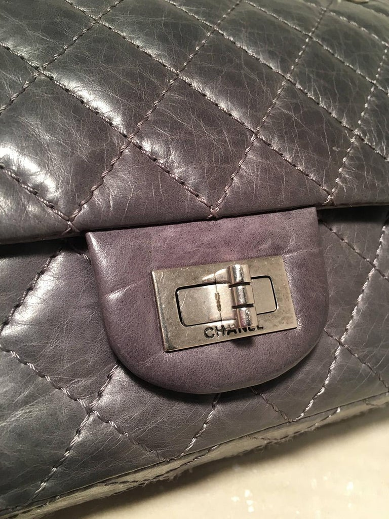 Chanel Dark Gray Distressed 10inch 2.55 Double Flap Classic 227 Reissue  For Sale 1