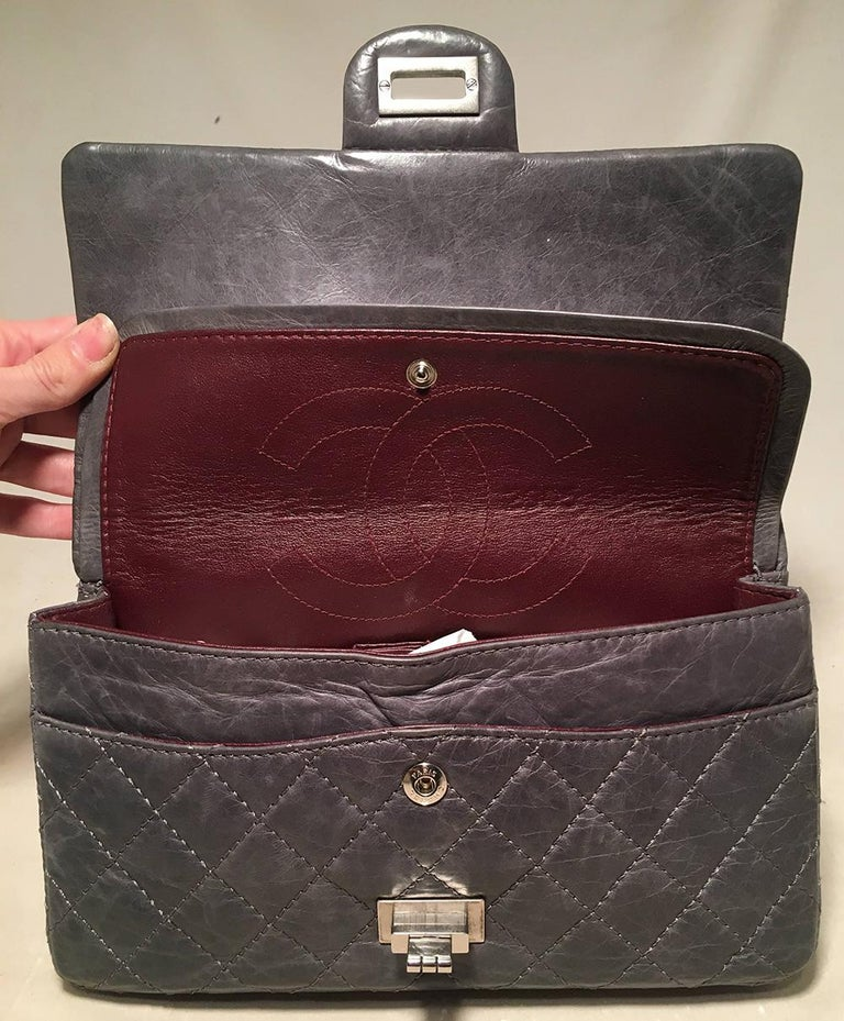 Chanel Dark Gray Distressed 10inch 2.55 Double Flap Classic 227 Reissue  For Sale 3