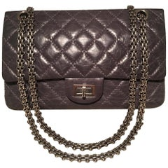 Chanel Dark Gray Distressed 10inch 2.55 Double Flap Classic 227 Reissue