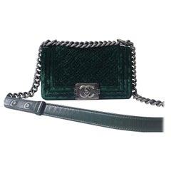 Chanel Dark Green Lambskin Leather Velvet Small Boy Bag