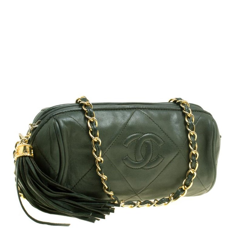 Chanel Dark Green Quilted Leather Vintage Shoulder Bag