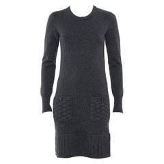 Chanel Dark Grey Cashmere Quilted Pocket & Hem Detail Shift Dress S