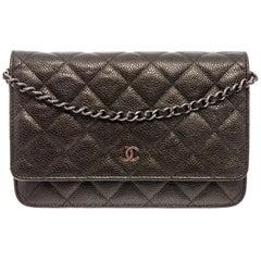 Chanel Dark Grey Caviar Leather WOC Wallet On Chain Bag