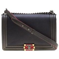 Chanel Dark Grey Cube Embossed Leather Jumbo Boy Flap Bag