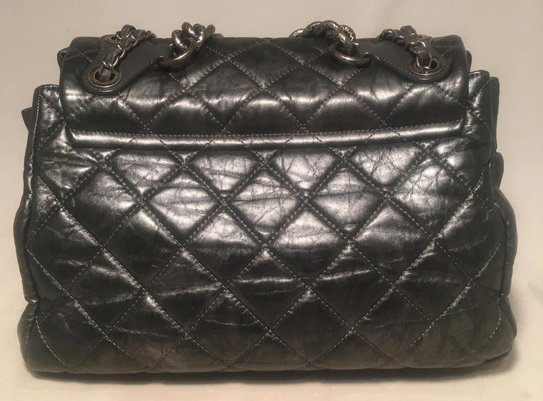 Chanel Dark Grey Metallic Distressed Quilted Accordion Flap Classic Shoulder Bag In Excellent Condition For Sale In Philadelphia, PA