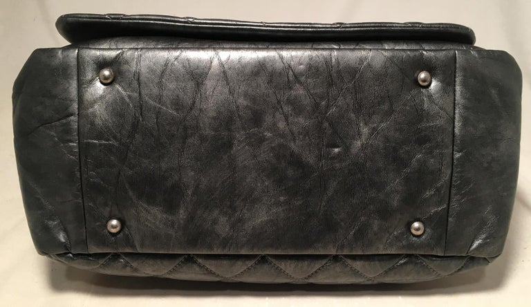 Chanel Dark Grey Metallic Distressed Quilted Accordion Flap Classic Shoulder Bag For Sale 1