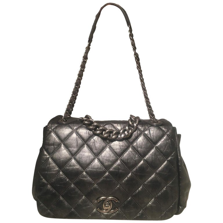 Chanel Dark Grey Metallic Distressed Quilted Accordion Flap Classic Shoulder Bag For Sale