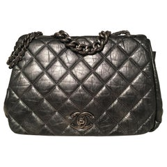 Chanel Dark Grey Metallic Distressed Quilted Accordion Flap Classic Shoulder Bag