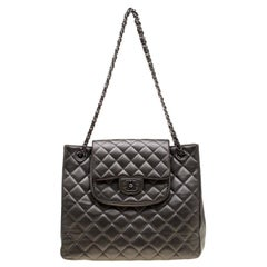 Chanel Dark Grey Quilted Leather Front Flap Pocket Tote