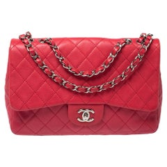 Chanel Dark Pink Quilted Caviar Leather Jumbo Classic Double Flap Bag