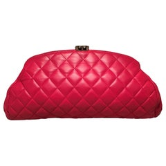 Chanel Dark Pink Quilted Leather Timeless Clutch