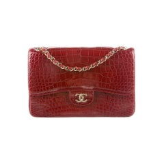 Chanel Dark Red Alligator Exotic Skin Gold Large Evening Shoulder Flap Bag