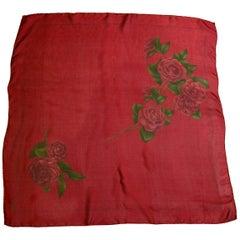 "Chanel Dark Red Rose Print 34"" Sheer Silk Scarf"