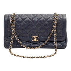 CHANEL Day Bag In Blue Caviar Leather