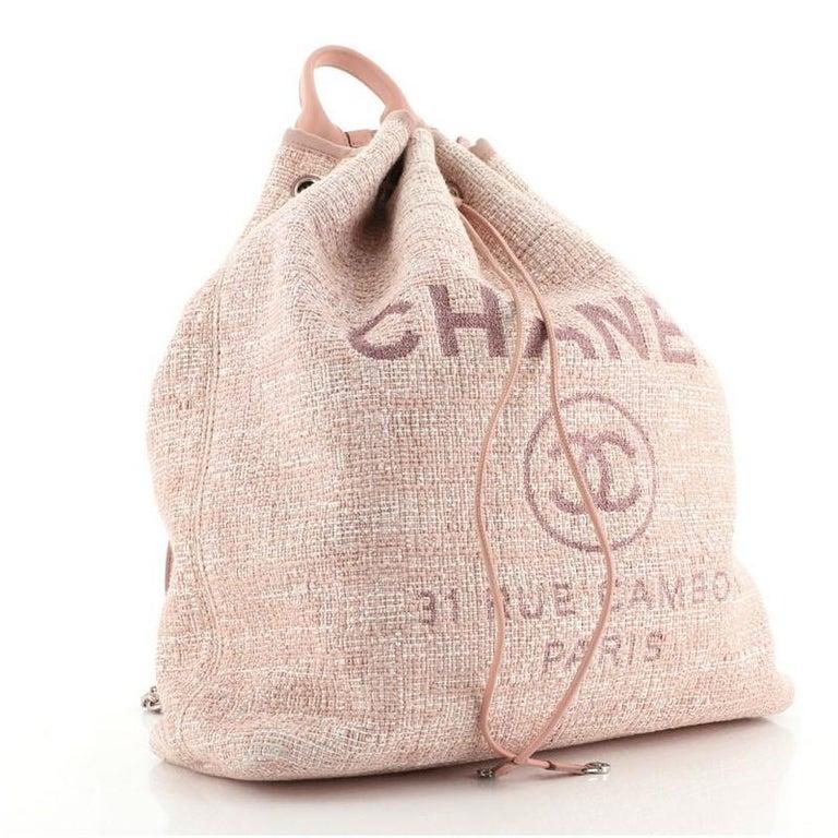 Beige Chanel Deauville Backpack Raffia Large For Sale