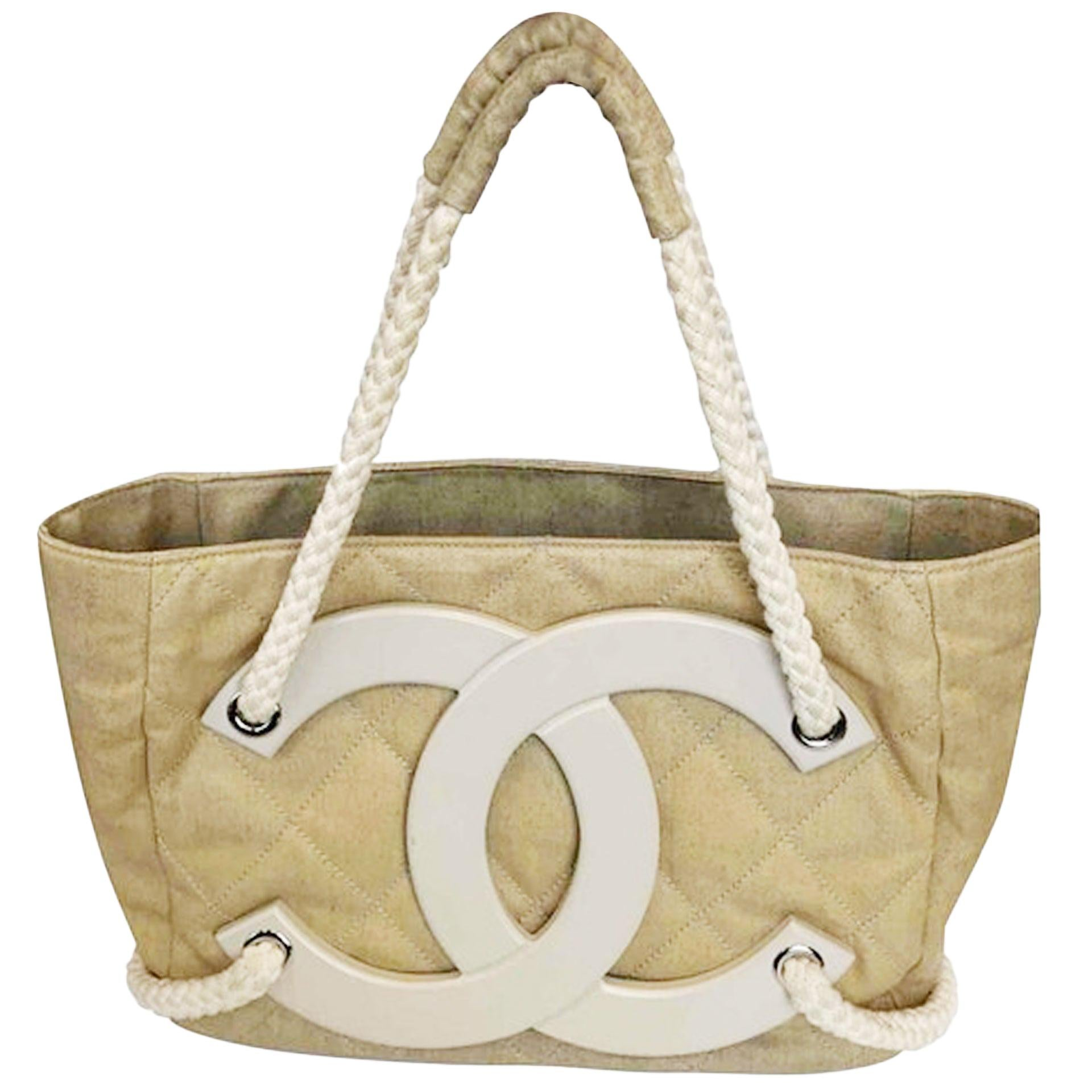 Chanel Deauville Bag Limited Edition Cruise Beige Coated Canvas Tote
