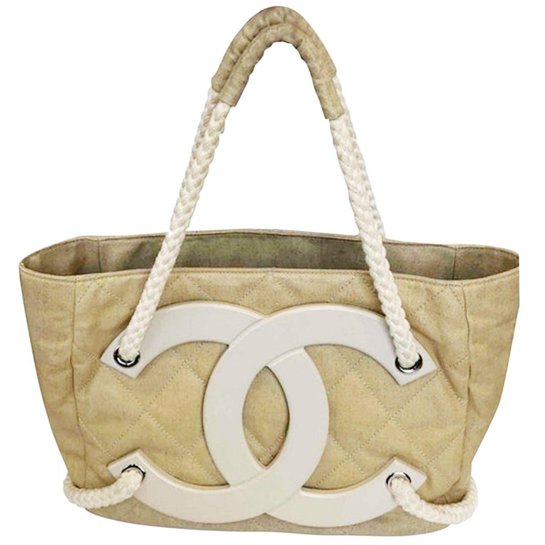 Chanel Deauville Bag Limited Edition Cruise Beige Coated Canvas Tote For Sale