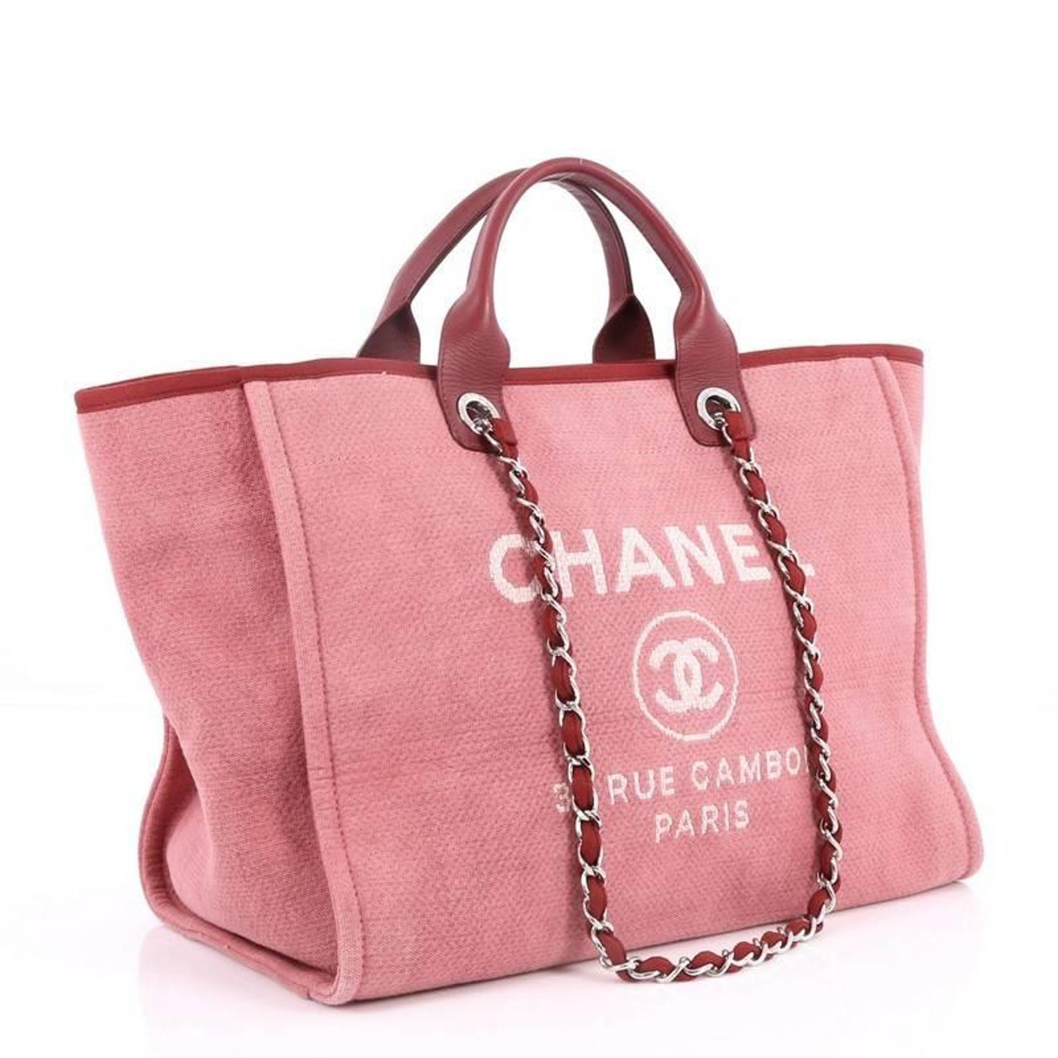 0dbc4537322c Chanel Deauville Chain Tote Canvas Large at 1stdibs