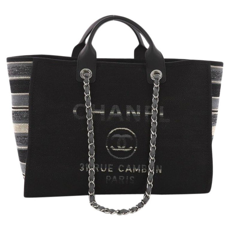 8b02de25a762 Chanel Deauville Chain Tote Canvas Large at 1stdibs