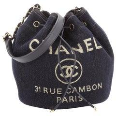 Chanel Deauville Drawstring Bucket Bag Lurex Canvas Medium