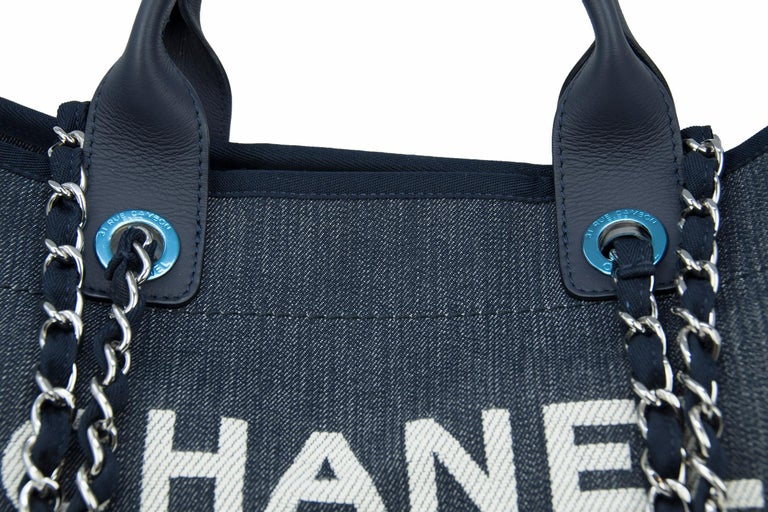 Chanel Deauville Large Denim Tote For Sale 1