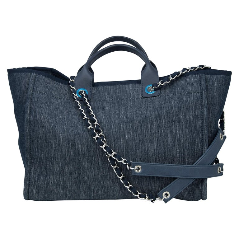 Women's Chanel Deauville Large Denim Tote For Sale