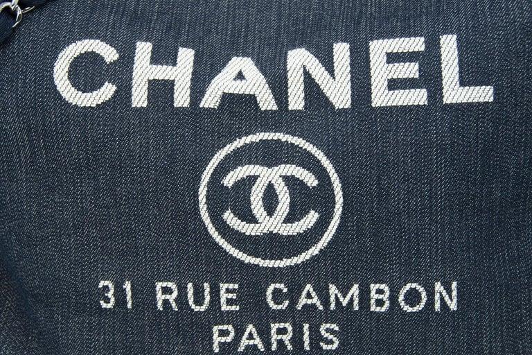 Chanel Deauville Large Denim Tote In New Condition For Sale In Newport, RI