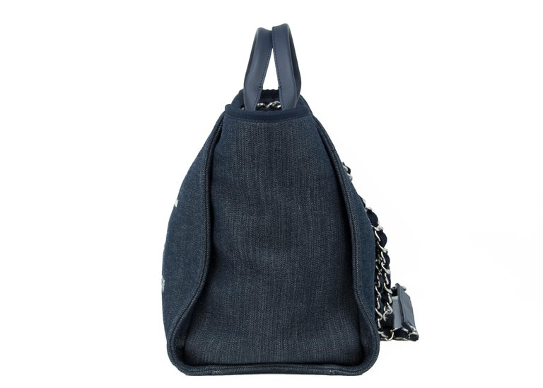 Chanel Deauville Large Denim Tote For Sale 2