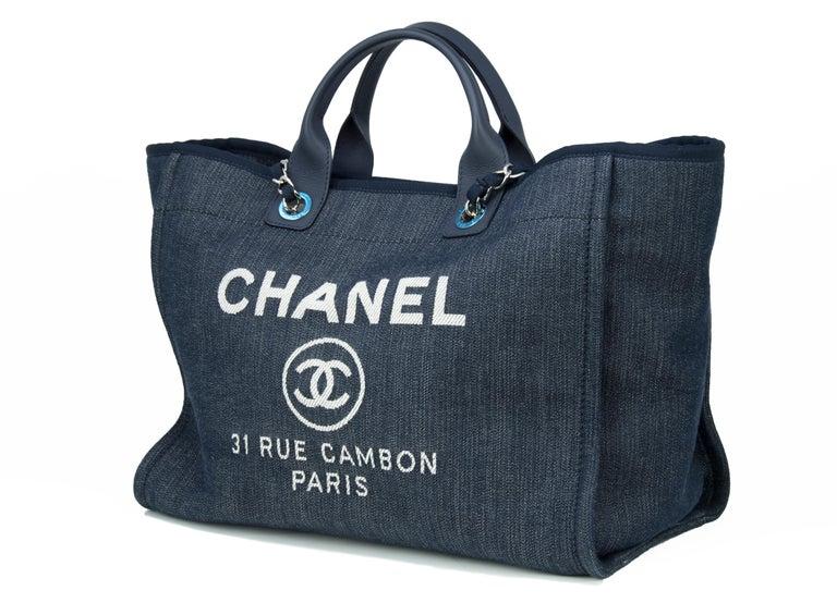 Black Chanel Deauville Large Denim Tote For Sale