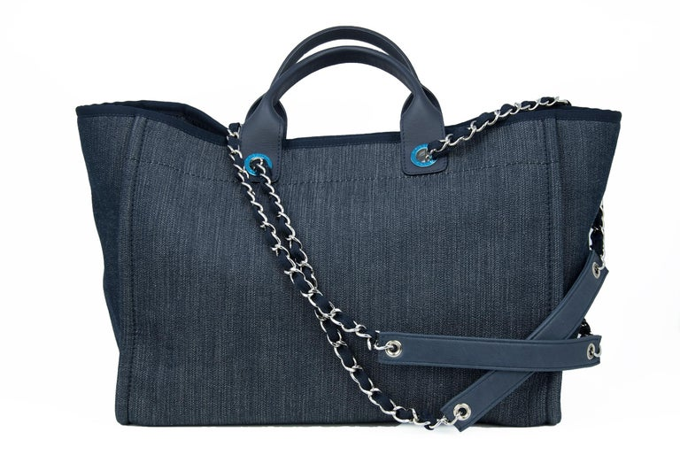 Chanel Deauville Large Denim Tote For Sale 4
