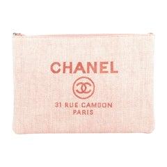 Chanel Deauville Pouch Raffia Large