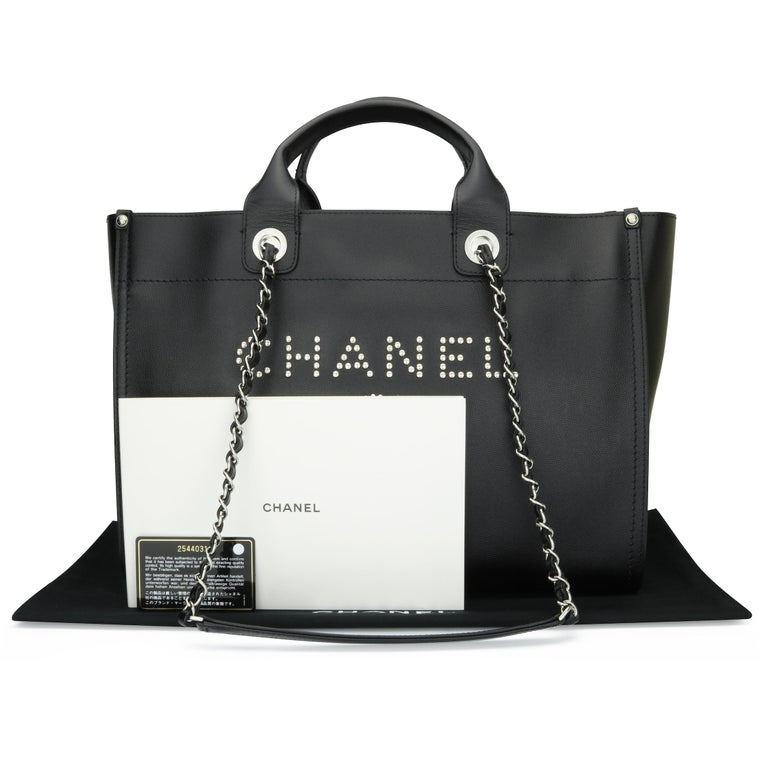 CHANEL Deauville Tote Bag Large Black Caviar Studded with SilverHardware 2018 For Sale 13