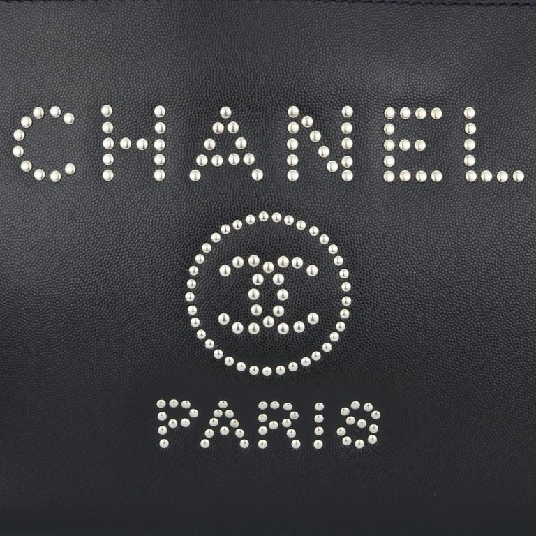 CHANEL Deauville Tote Bag Large Black Caviar Studded with SilverHardware 2018 In Excellent Condition For Sale In Huddersfield, GB